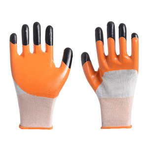 Textured Nylon 13 Pins Nitrile Gloves Wear-resistant Anti-skid Oil Resistant Double Layer Finger Reinforced Protective Work Gloves