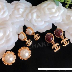 donne designer di gioielli di lusso orecchini agata perla Clip-on orecchini clip orecchio high-end di alta qualità rosa elegante perno posteriore vite rotondo oro