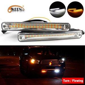 Okeen Gelb Universal-Lauf Eyes LED Engels-Riss DRL 2ST Tages Sequential Lampe drehen Streifen-Signal-Licht Fließende Car Styling Vnwvi