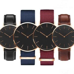 TOP New relógio de forma novo esporte dos homens de 40 mm de homens e senhoras relógio de lazer 36 milímetros de moda relógio de quartzo de couro impermeável sino azul de nylon
