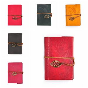 PU-Abdeckung Spulen-Notizblock-Buch Weiches Heft Blank Notebook Retro Blatt Reise-Tagebuch Bücher Kraft Journal Spiral Notebooks Stationery VT1483
