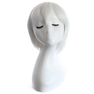 Pure white Anime wigs Cosplay colorful Short curly hair with 28cm synthetic braid hair