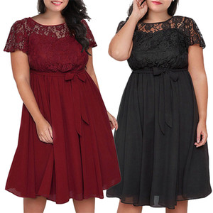 2020 Summer Loose Dress Womens Elegant Sexy Fashion Dresses Plus size Women's Stitching Short Ssleeve Lace Dress XL-5XL