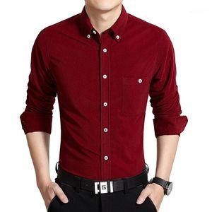 Tops Mens Business Single Breasted Camisas Casual Mens estilista Shirts Moda cor sólida manga comprida