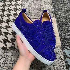 Blue Pik Pik Spikes & Strass Junior Sneaker, Men Red Bottom Leisure Luxury Designer Skateboard Sports -- Party Dress Wedding EU35-47