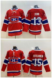 2019 maglia Montreal Canadiens per bambini 13 Max Domi 15 Jesperi Kotkaniemi Maglia da hockey giovanile cucita a casa rossa Taglia S / M L / XL