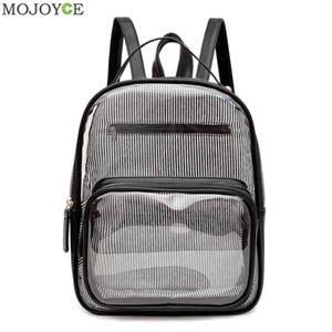 Women Transparent PVC Backpack Classic Texture Delicate Creative Chic Stripe PU Splicing Student Travel Shoulder Bag