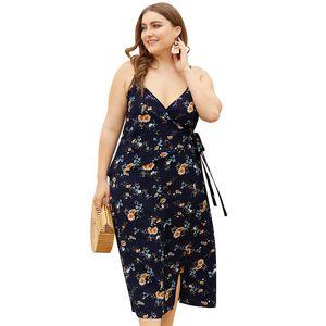 Plus Size Sexy Decote Em V Profundo Verão Floral Deslizamento Vestido Prairie Chic Mulher Vestido Dividido