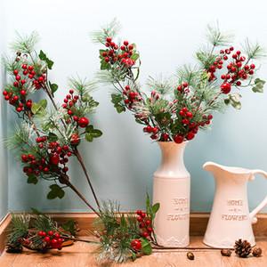 La rama del pino artificial de frutas de Berry de red artificial para la decoración de Navidad falso centro de flores de la decoración de la flor del partido Inicio