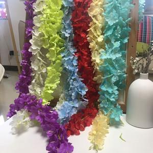 35 CM 21 Renkler Ipek Ortanca Çiçekler Vine Yapay Çiçek Wisteria Düğün Süslemeleri için Parti Bahçe Duvar Dekorasyon Ev Dekorasyonu