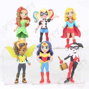 6 juguetes Estilo Superhéroe Mujer Maravilla Harley Quinn figura muñeca de 2019 nuevos niños de 12 cm vengadores de la película de dibujos animados de plástico de juguete