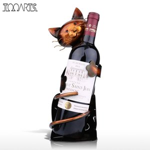Tooarts Cat Holder Holder Metal práctica estatuilla para botella Office Home Decor Wine Rack Q190522