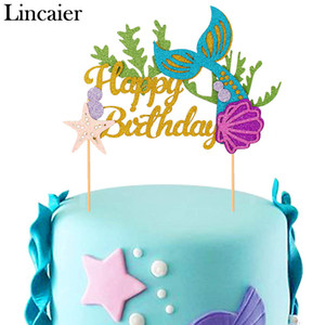 Lincaier Happy Birthday Papier Kuchen Topper Meerjungfrau Party Dekorationen Prinzessin Baby Mädchen Kinder Kinder Liefert Muschel Seestern