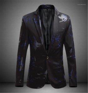 Lapel Neck Blazers Fashion Slim Single Button Business Gentleman Formal Coats Casual Males Clothing Print Mens Designer