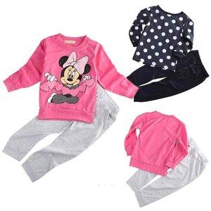 Si adatta fumetto delle neonate vestiti Set Autunno Primavera 2pcs 2-5t Bay ragazze vestiti manica lunga Dot Top Shirts + Long Pants