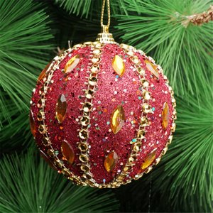Christmas Tree Hanging Ornaments Decor Merry Christmas Rhinestone Glitter Baubles Balls Foam Balls Styrofoam Ball Gold 15JULY19