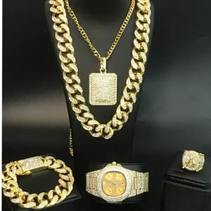 Collier en or Montre Hip Hop hommes hommes bracelet Résonnons à Cuba l'ensemble de bijoux