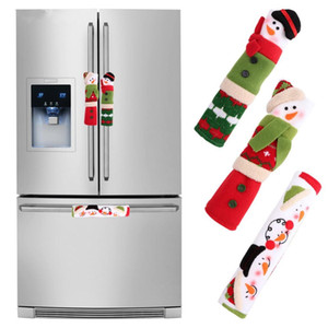 3pcs poignée Réfrigérateur Couvertures de Noël Four Lave-vaisselle Poignée de porte couverture Décorations de Noël pour la maison 10 * 24cm