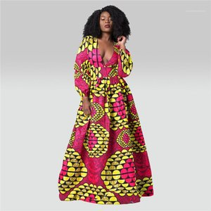Dress Long Sleeve Digital Print High Waist Dresses V Neck Casual Long Dress 2020 Womens Designer