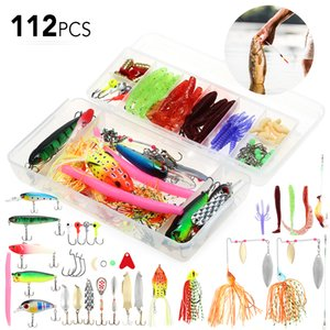 112pcs Fishing Lure Set Fishing Lure Bait Gear Kit Spinnerbaits Worms Jig Hooks with Tackle Box