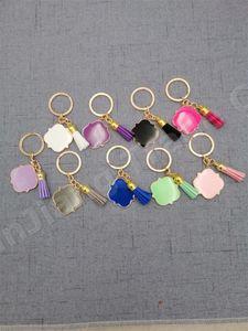 Tassel Keychain Porte-clés personnalisés personnalisés Quatrefoil Monogrammed Monogrammed Charms Suede Multicolor Boutique Keychain A110402