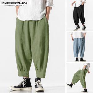 Man Casual Pockets Drop Crotch Trousers Summer Retro Joggers Men Harem Pants Elastic Waist Solid Color Loose Bottoms Plus Size 7