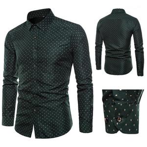 Drucken dünnes Hemd Mode Langarm Frühling Revers Ansatz beiläufige Hemd Homme Designer-Kleid Mens Blumen