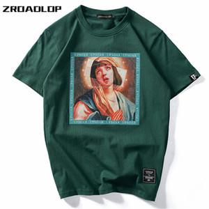 Camisetas Zroadlop Virgen María de los hombres de 2019 Hip divertido Impreso de manga corta camisetas de verano Hop ocasional del algodón tops de las camisetas de Calle MX200611
