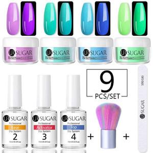 UR SUGAR Dipping Nail Pulver Set Glow Glitter Base Coat Gradient Acrylnagel-natürliche Farben-Cure Art für Maniküre