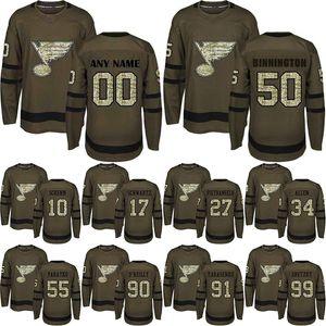 St. Louis Blues Jersey 90 Ryan O'Reilly 50 Binnington 91 Tarasenko 99Gretzky 17 Schwartz Authentic Verde Salute to Serviço Hockey Jerseys