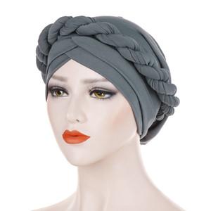 Hijab musulmano intrecciato cappelli turbanti setosi per donne Cancro Berretti chemio Berretto Copricapo Placcato Accessori per capelli