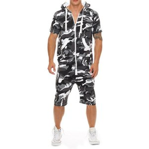 Casual Trainingsanzug Overall Männer Sommer Kurzarm Hoodies Sweatshirt Herren Overalls Mode Camo Sportwear Kurze Hosen Strampler