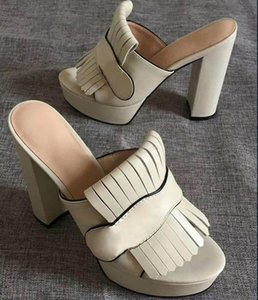 2020 Luxury Women's Marmont Sandals High Heels platform slide Suede leather with fringe Double tone hardware Vintage mid-heel Designer shoes