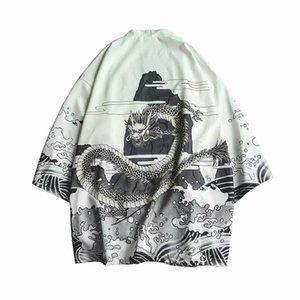 Mens Black Summer Shirts Kimono Thin Japan Style manches 3/4 dragon Imprimer Cardigan Vestes Homme Manteau Vintage Open point Outwear
