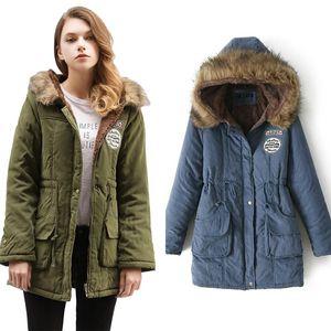 KAR PINNACLE Kadınlar Parka Sonbahar Kış Sıcak Ceketler Kadın Kürk Yaka Palto Uzun Parkas Hoodies Ofis Bayan Pamuk Artı boyutu