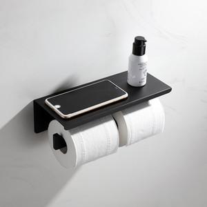 Praça 2 Anéis Toilet Paper Holder Top Shelf Projeto de aço inoxidável laminado de papel Suporte de banho Acessórios de Hardware