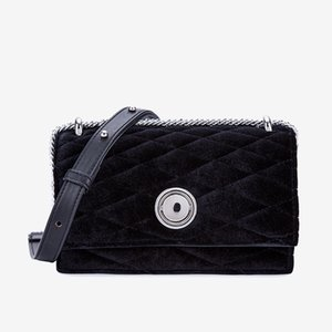 Lucky2019 Woman Velvet Lingge Lock Square Package Joker Single Shoulder Messenger Chain Small Bag