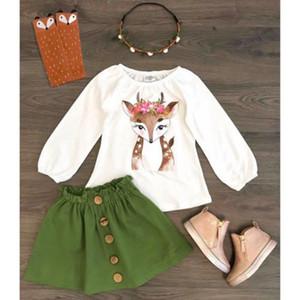 Emmababy 2 adet Yürüyor Çocuk Bebek Kız Giysileri Noel Geyik Tops + etekler Sonbahar Kıyafet Giysi Set