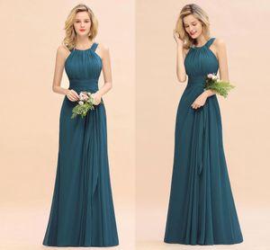 Imágenes reales Barato Gasa Turquesa Una línea Vestidos de dama de honor Elegante Alter Prom Prom Vestido de noche Miad Of Honor Vestido largo Invitado de boda BM0773