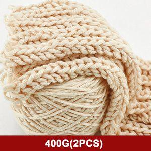 400g Natural lã Merino Chunky Yarn feltro de lã Roving suave Fios de Spinning Knitting Mão rotação inverno quente gratuito Needle