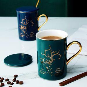 Kaffee-Keramik-Becher Kreative Großdruck Porzellan Rühren Paar Nordic Art-Becher Personalisierte Reise-Neuheit-Schale