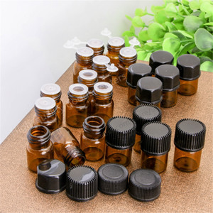 Free Shipping 500pcs 1ML Amber Essential Oil Bottle With Plastic Lid,Small Glass Bottle, Mini Brown Vials,Glass Container