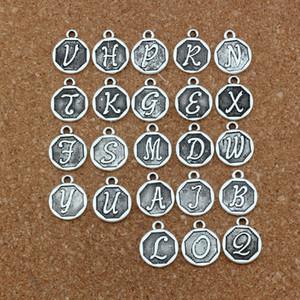 양면 혼합 된 편지 디스크 초기 합금 매력 펜던트 패션 쥬얼리 DIY 14.8x28.2MM 100pcs / lots Antique Silver A-419
