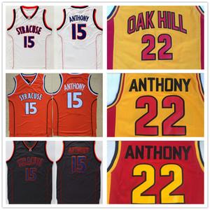 NCAA 남성 15 카멜로 앤서니 00 뉴저지 대학 시러큐스 오렌지 화이트 오크 힐 고등학교 22 카멜로 앤서니 농구 유니폼 스티치