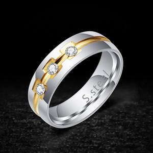 خواتم الفرقة موضة مجوهرات جديدة للجنسين عالية الجودة الزركون العنقودية فاخر Exqusite التيتانيوم الصلب الهندسية الدائرة خواتم