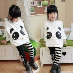 Neugeborenes Kind-Kind-Baby-Mädchen-Kleidung Panda Hieb-Hülsen-beiläufige populäre nette Tops + Stripe Pants 2Pcs Satz-Baby-Girl Outfits 2-7Y
