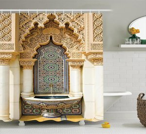 Marroquino Decor Shower Curtain Building Design Poliéster Vintage Bathroom Shower Curtain Set com cortinas de chuveiro Ganchos