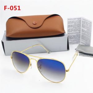 1pcs Top occhiali da sole per gli uomini donne Gradient metallo della lega d'oro lente di vetro blu 58 millimetri originale Case Box