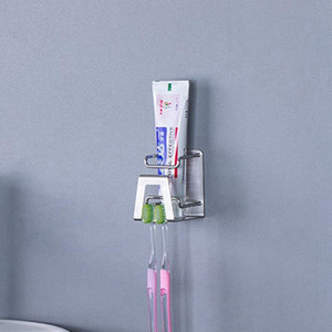 스테인레스 스틸 칫솔 홀더 펀치없는 벽 마운트 욕실 칫솔 치약 집 욕실 액세서리 선반 HHA1185 랙