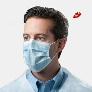 50PCS Blue 3 Ply Disposable Non Woven Face Mask With Earloop Masks For Safety And Air Pollution Approved 50 Pcs Bag AERQ 2WK3